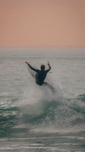 Preview wallpaper surfing, surfer, sea, waves, spray