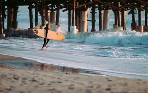 Preview wallpaper surfing, surfer, sea, waves