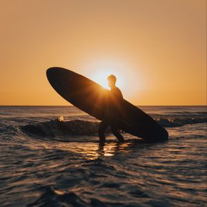 Preview wallpaper surfing, surfer, silhouette, sunset, waves