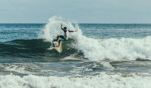 Preview wallpaper surfing, surfer, trick, wave