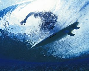Preview wallpaper surfing, surfer, water, depth