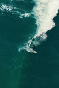 Preview wallpaper surfing, surfer, wave, sea, aerial view