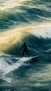 Preview wallpaper surfing, waves, man, sea