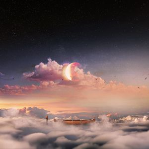 Preview wallpaper surrealism, boat, clouds, lonely, man, starry sky