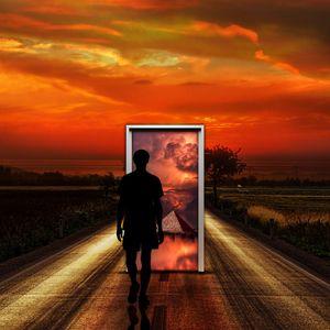 Preview wallpaper surrealism, man, door, imagination