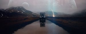 Preview wallpaper suv, mountains, water, landscape, alien, traveling, meteorite, reflection, photoshop