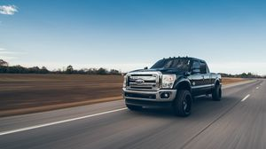 Preview wallpaper suv, pickup, road, speed