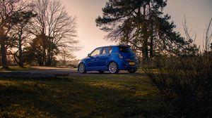Preview wallpaper suzuki, car, blue, park, trees