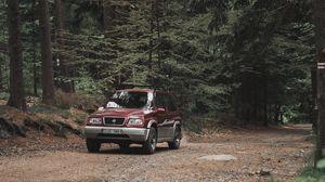 Preview wallpaper suzuki, car, forest, pine, road