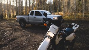 Preview wallpaper suzuki, car, motorcycle, forest