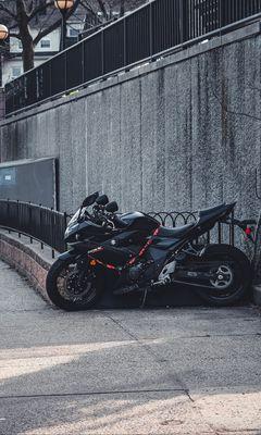 240x400 Wallpaper suzuki, motorcycle, bike, black, parking