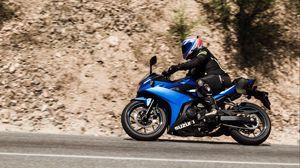 Preview wallpaper suzuki, motorcycle, bike, blue, motorcyclist, helmet, road