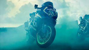 Preview wallpaper suzuki, motorcycle, bike, smoke, moto, sports
