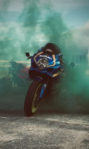 Preview wallpaper suzuki, motorcycle, bike, sport bike, moto, smoke