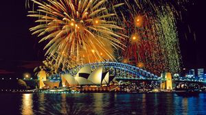 Preview wallpaper sydney, fireworks, opera, theater, river