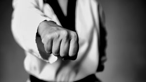 Preview wallpaper taekwondo, fight, fighter, fist, bw
