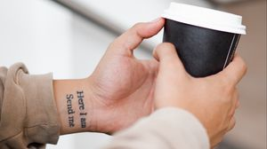 Preview wallpaper tattoo, inscription, hand, wrist, cup