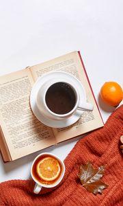 Preview wallpaper tea, coffee, drinks, cups, autumn, aesthetics