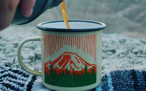 Preview wallpaper tea, cup, camping, thermos, hand