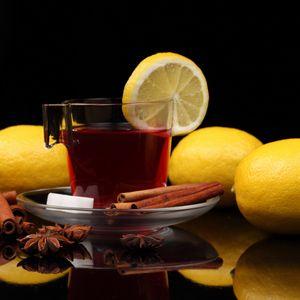 Preview wallpaper tea, cup, cinnamon, lemon, black background, sugar