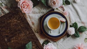 Preview wallpaper tea, cup, flowers, book, still life