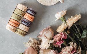 Preview wallpaper tea, cup, macarons, cookies, bouquet, flowers