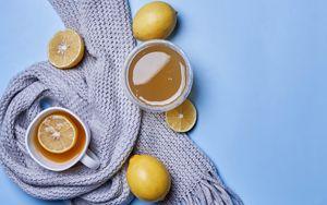 Preview wallpaper tea, lemon, cup, scarf, cozy, aesthetics