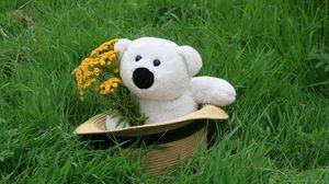 Preview wallpaper teddy bear, hat, grass, flowers, gift