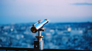 Preview wallpaper telescope, city, evening, form, structure