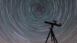 Preview wallpaper telescope, starry sky, night, blur, motion