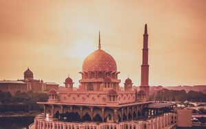 Preview wallpaper temple, architecture, building, cupola, water, sunset
