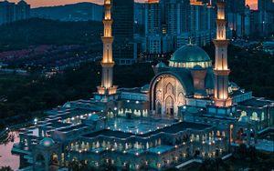 Preview wallpaper temple, architecture, city, buildings, sunset, evening