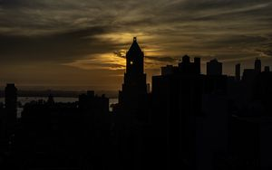 Preview wallpaper temple, building, city, architecture, sunset, sky