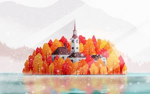 Preview wallpaper temple, building, island, trees, snow, art