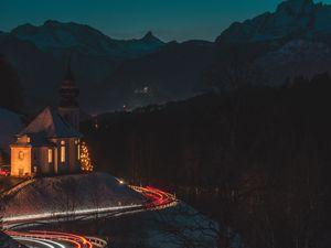 Preview wallpaper temple, building, road, long exposure, neon