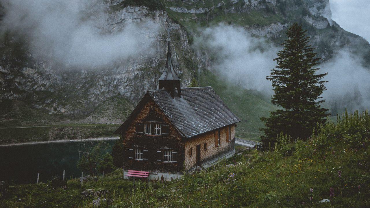 Wallpaper temple, church, lake, mountains, wolfenschiessen, switzerland