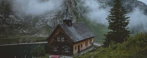 Preview wallpaper temple, church, lake, mountains, wolfenschiessen, switzerland