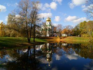Preview wallpaper temple, church, shrine, dome, lake, autumn, st petersburg