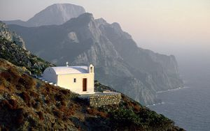 Preview wallpaper temple, coast, white, height, rocks, greece