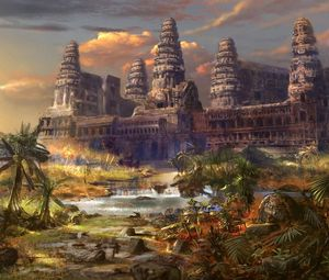 Preview wallpaper temple, destruction, palms, different world