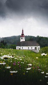 Preview wallpaper temple, field, flowers, grass, slovenia