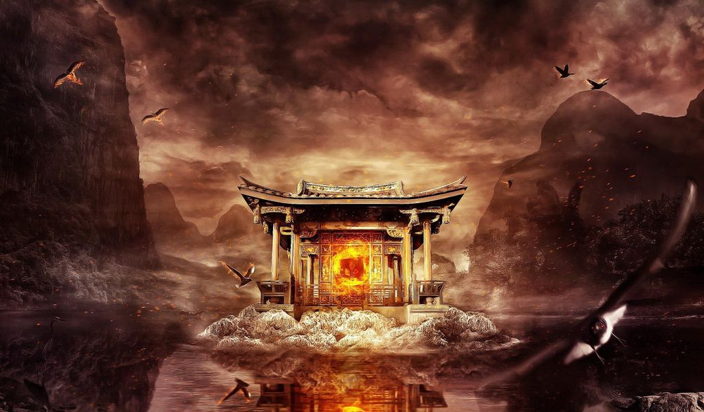 1024x600 Wallpaper temple, fire, mountains, birds, flying, water