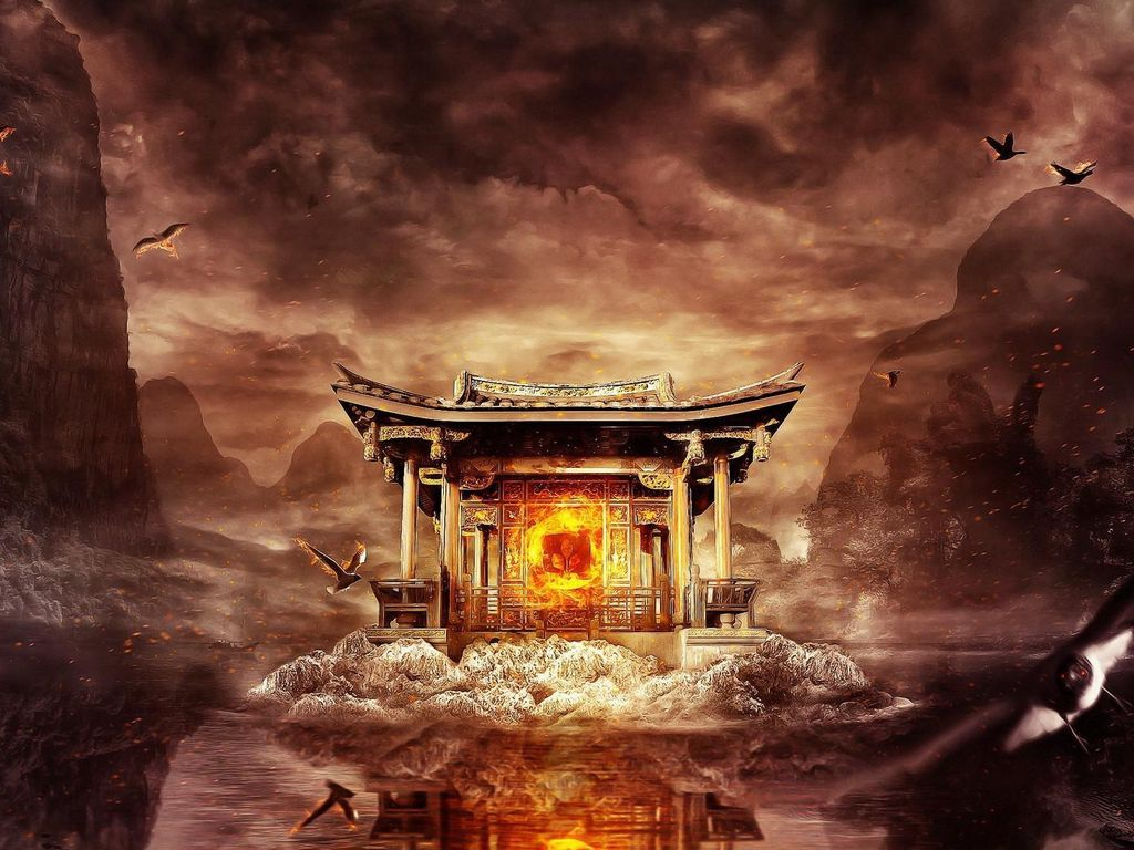1024x768 Wallpaper temple, fire, mountains, birds, flying, water
