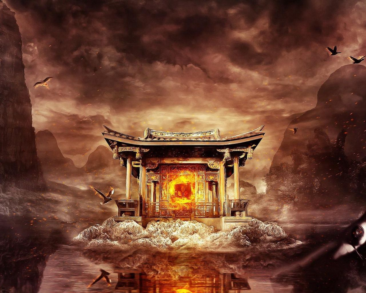 1280x1024 Wallpaper temple, fire, mountains, birds, flying, water