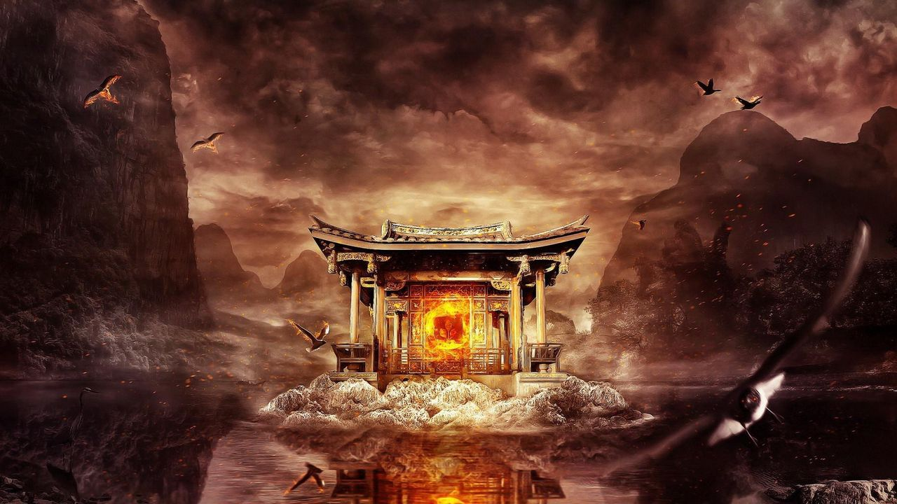 1280x720 Wallpaper temple, fire, mountains, birds, flying, water