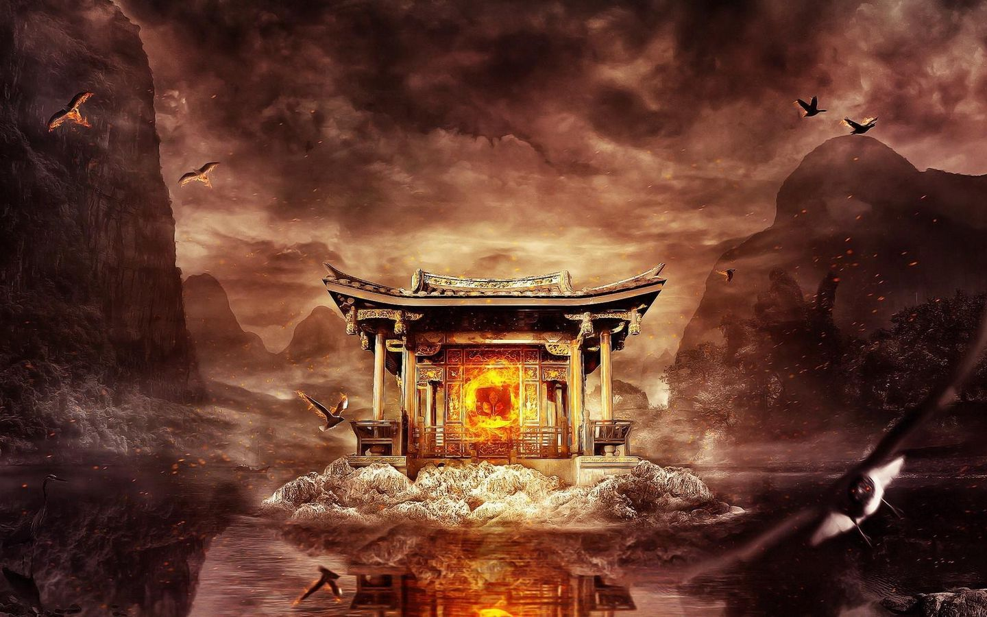 1440x900 Wallpaper temple, fire, mountains, birds, flying, water