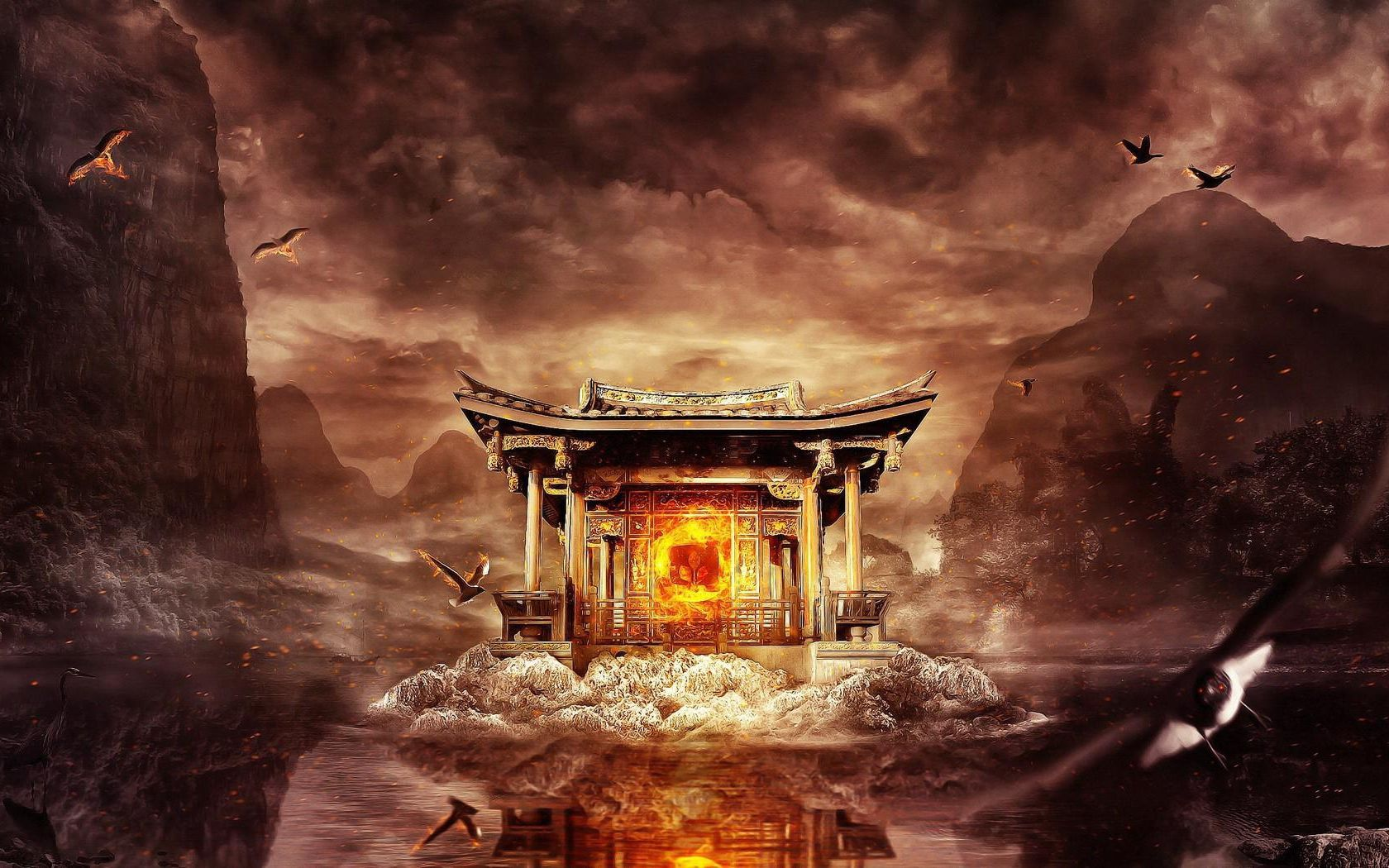 1680x1050 Wallpaper temple, fire, mountains, birds, flying, water