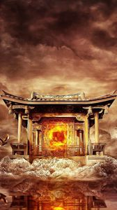 Preview wallpaper temple, fire, mountains, birds, flying, water