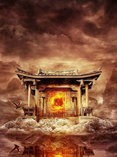 240x320 Wallpaper temple, fire, mountains, birds, flying, water