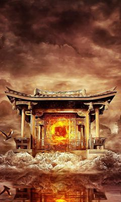 240x400 Wallpaper temple, fire, mountains, birds, flying, water